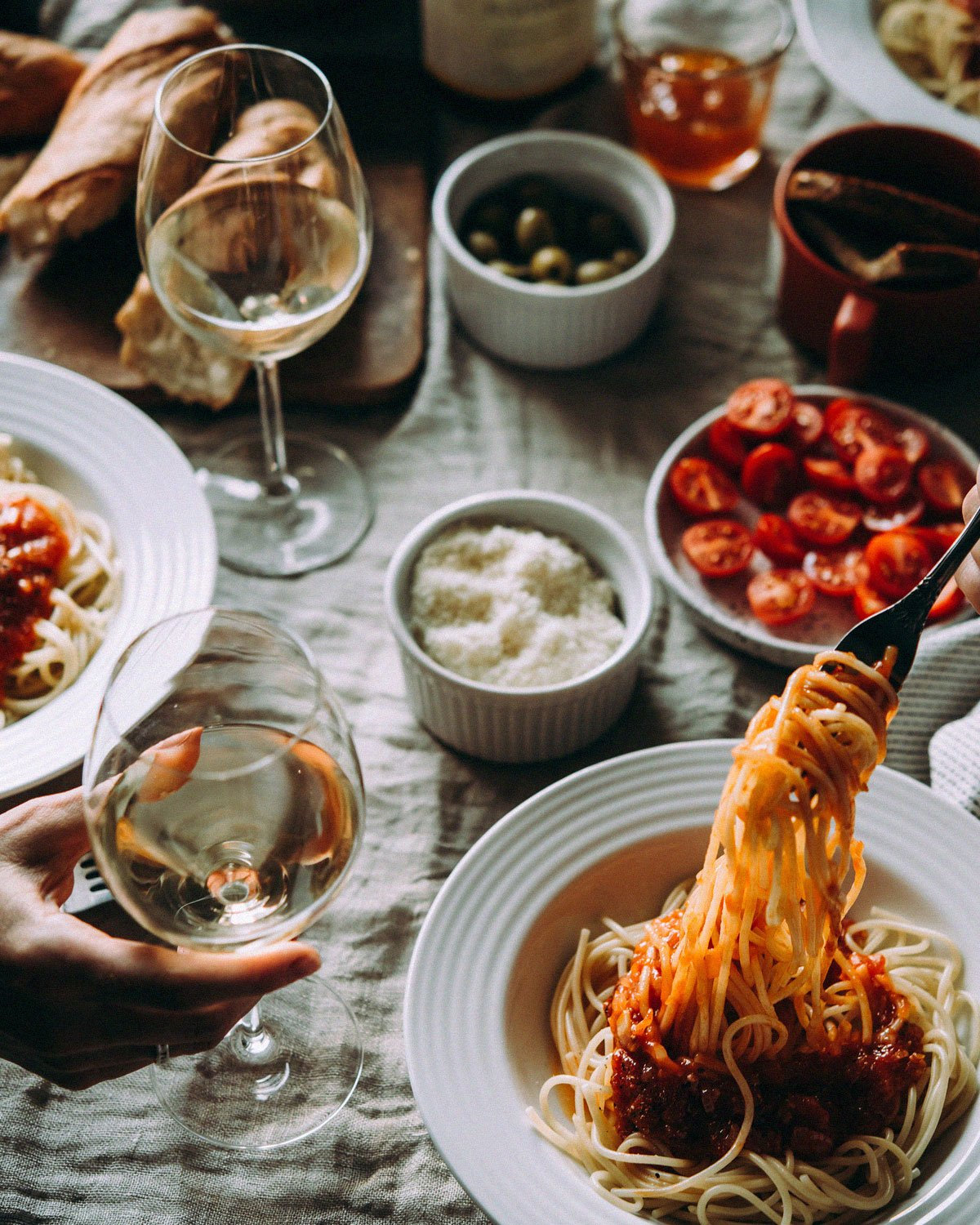 Spaghetti and Meatballs Dinner with Wine on table