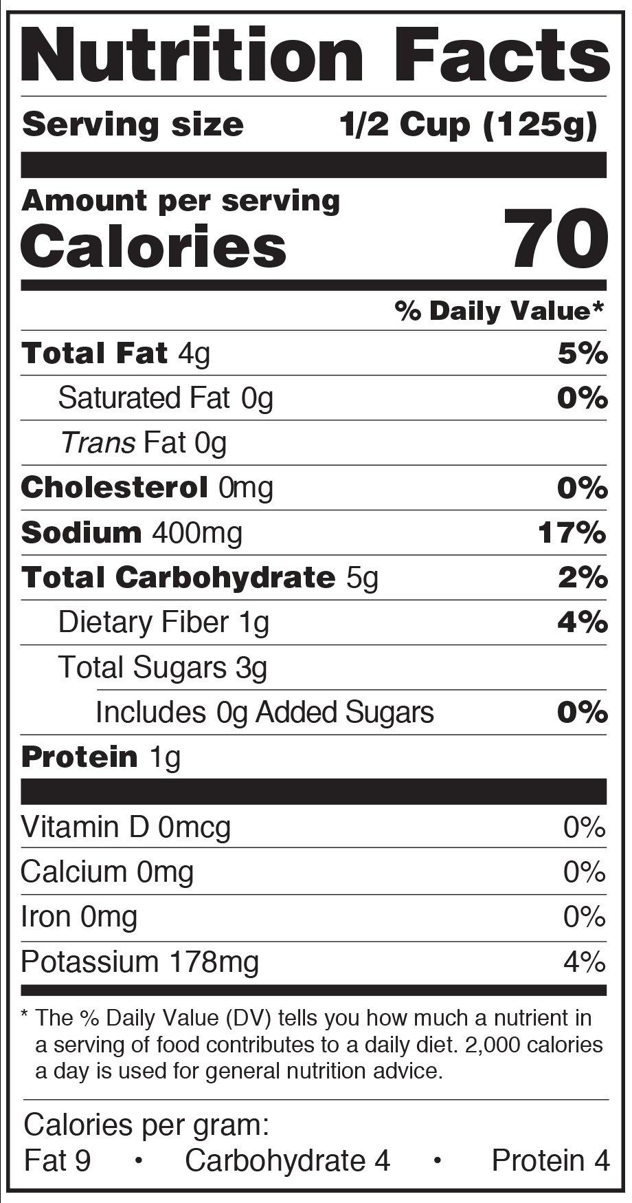 Paesana Organic Pasta Sauce Roasted Garlic Nutrtition Facts Label