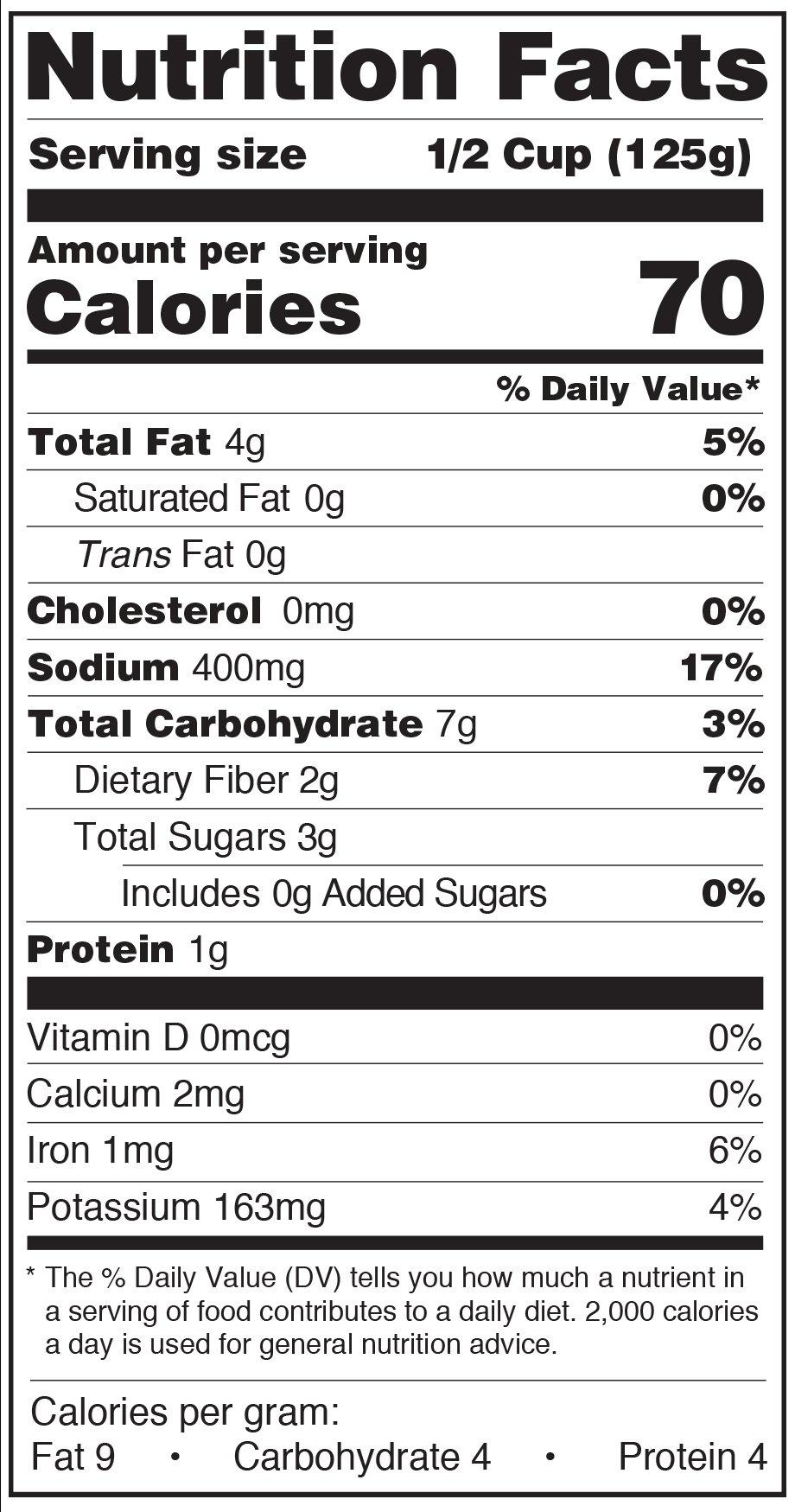 Paesana Organic Pasta Sauce marinara Nutrition Facts label