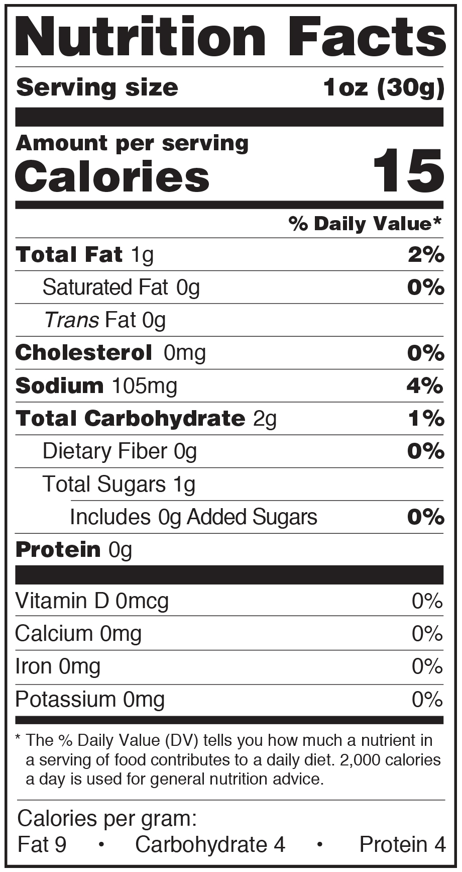 Paesana Condiments Nutrition Facts Label Country Garlic Mushrooms