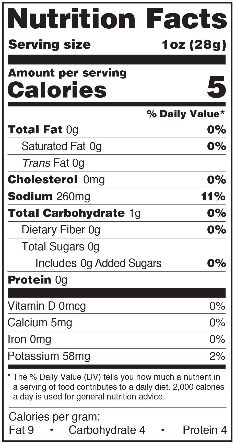 Paesana Condiments Nutrition Facts Label Garlic Herb Cauliflower