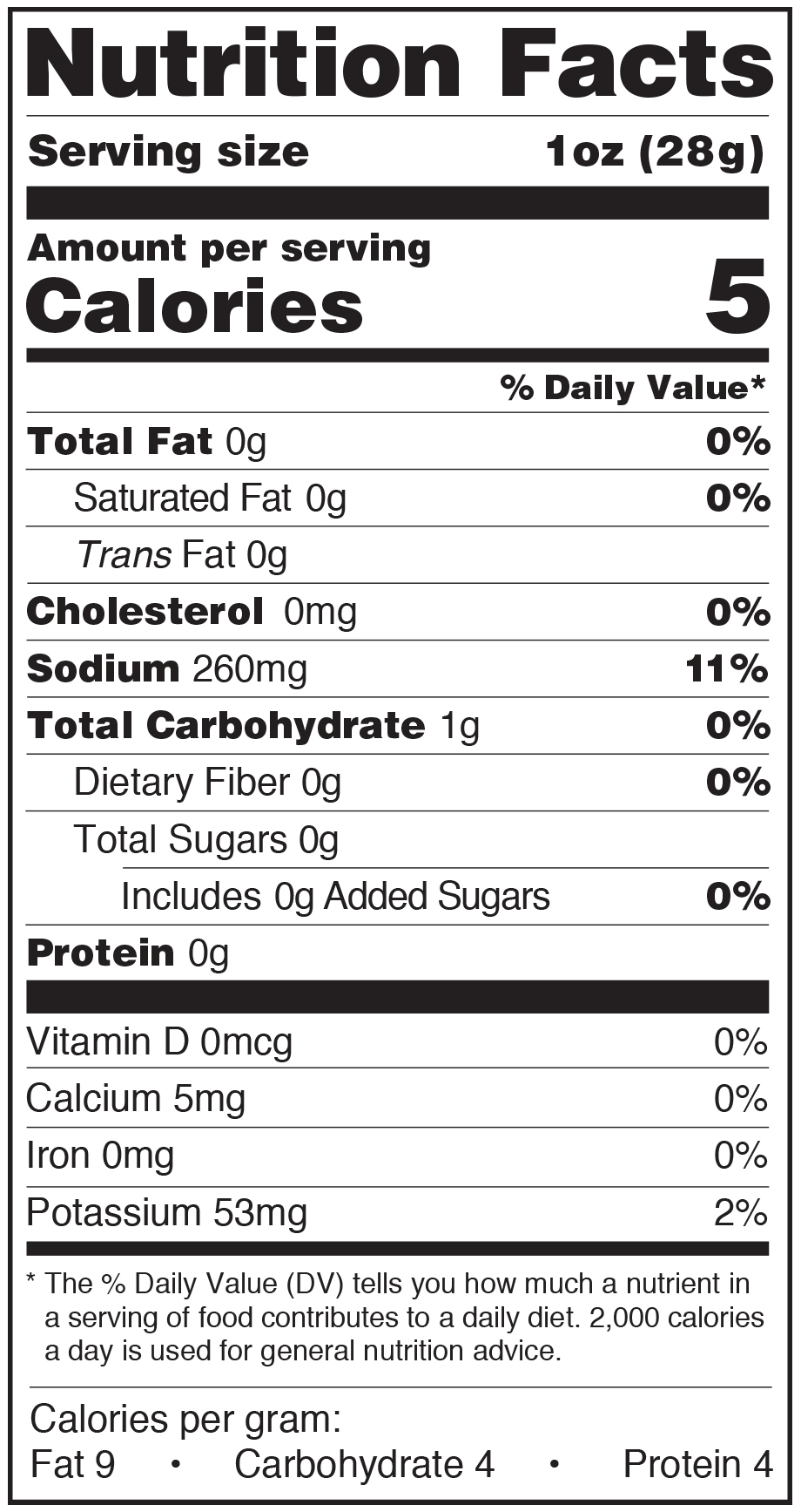 Paesana Condiments Nutrition Facts Label Pickled Herb Cauliflower