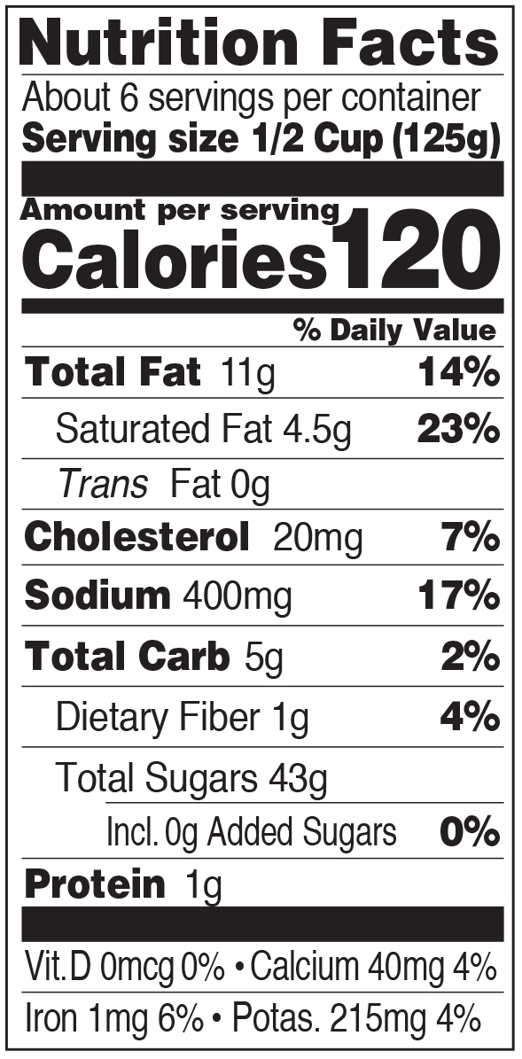 Paesana Champagne Nutrition Facts Panel