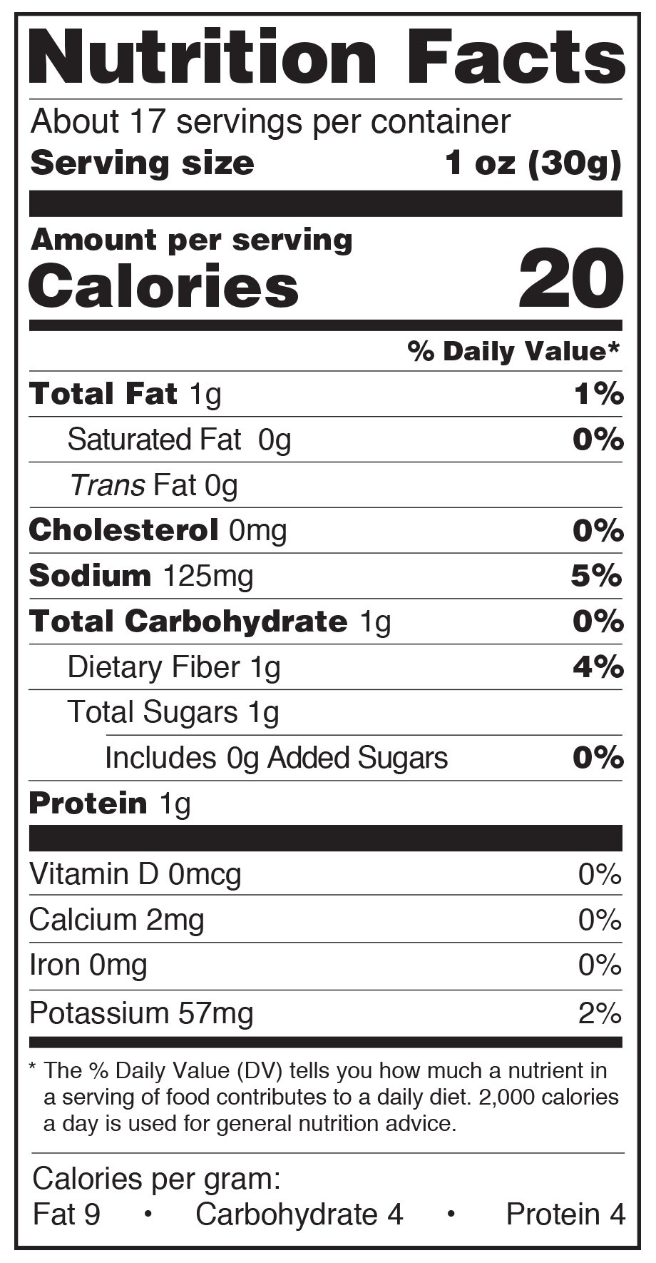Paesana Grilled Mushrooms Nutrition Facts Label