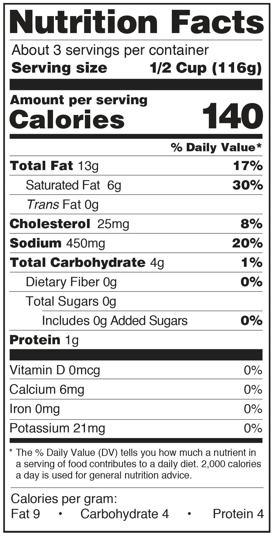Paesana Francese Nutrition Facts Panel