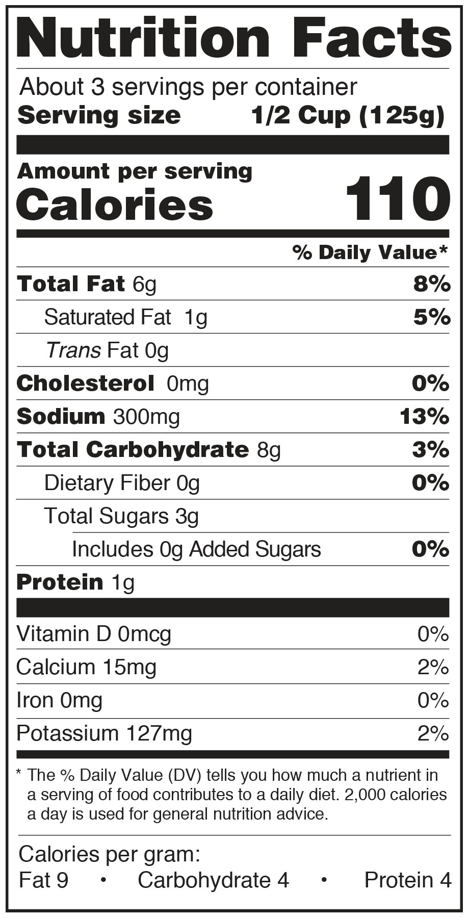Paesana Marsala Francese Nutrition Facts Panel