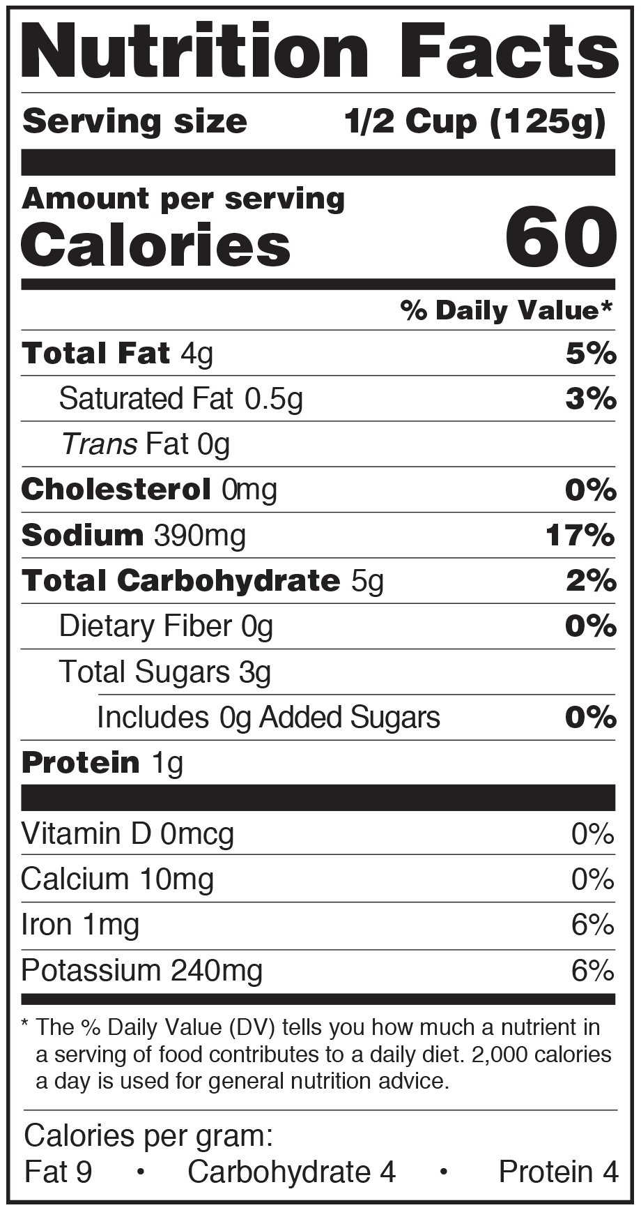 Paesana Pasta Sauce Nutrition Facts Label roasted garlic