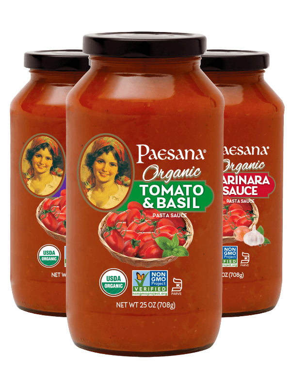 Jars of Paesana Organic Sauces