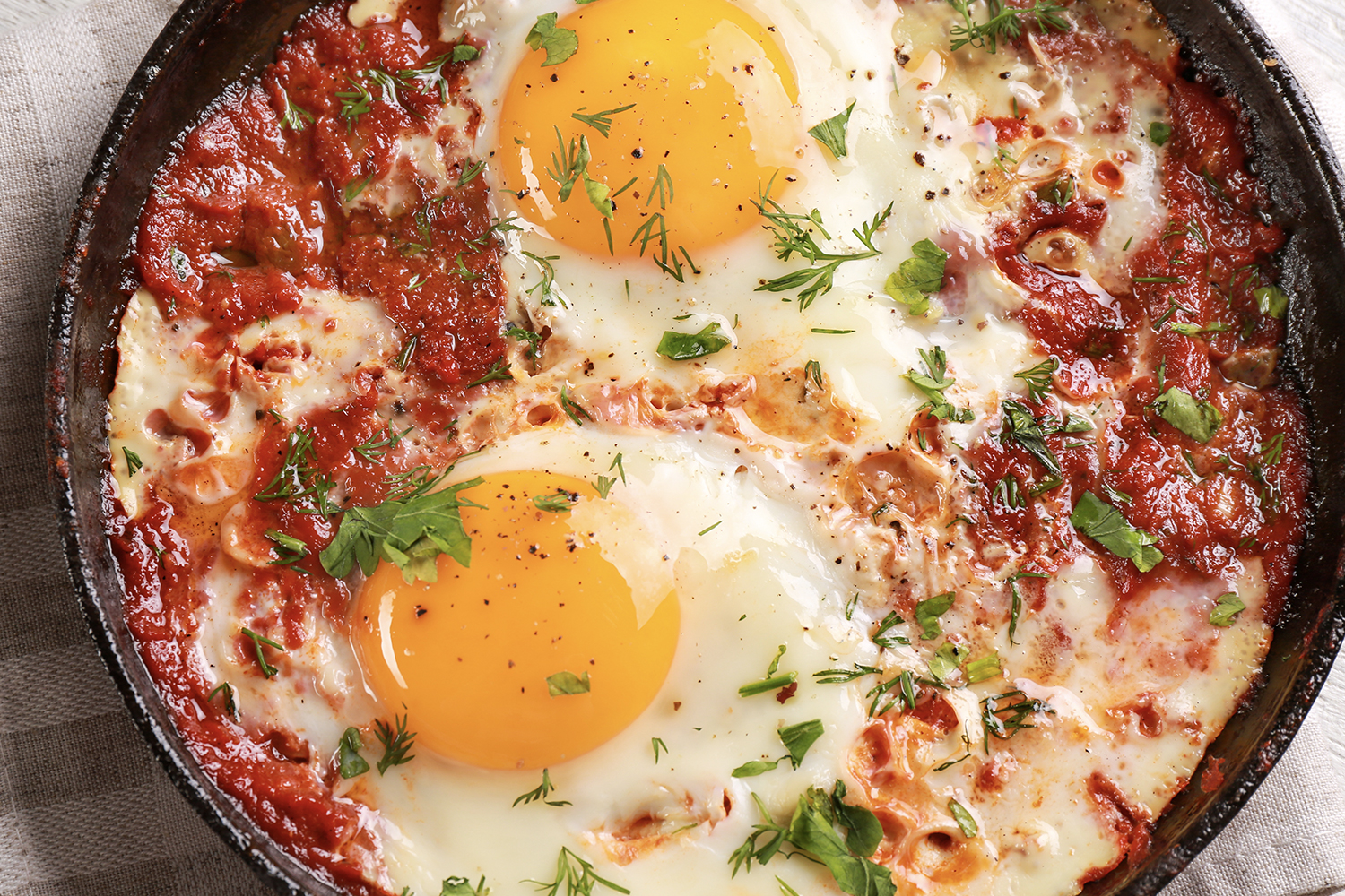 Eggs in Purgatory - Overhead view of dish