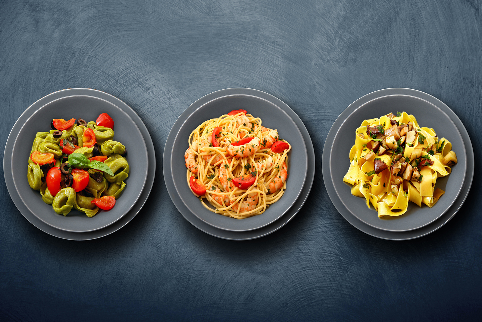 bird eye of view of assorted pasta dishes