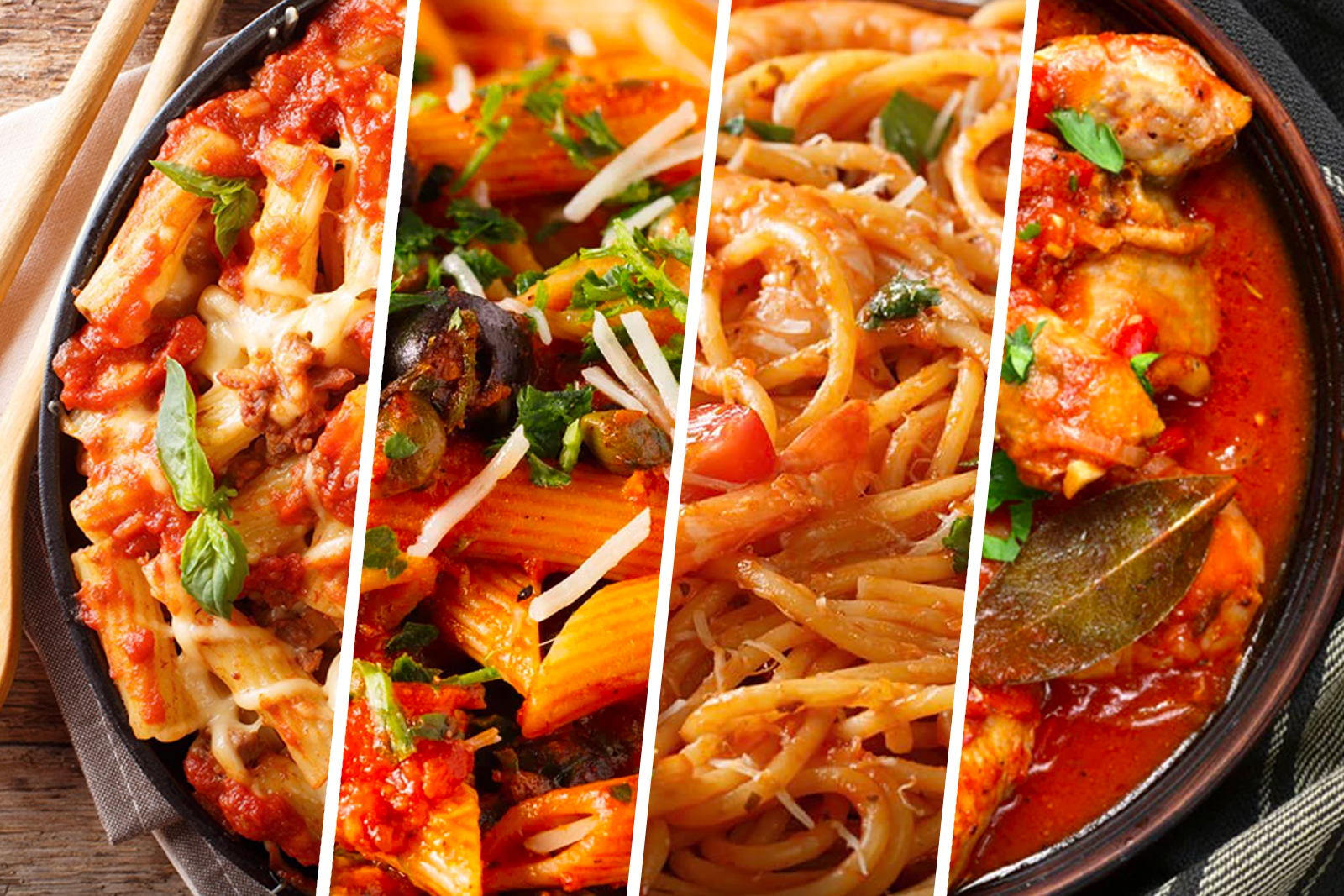Collage of recipes - Chicken Cacciatore, Baked Ziti, Shrimp Fra Diavolo and Shrimp Fra Diavolo