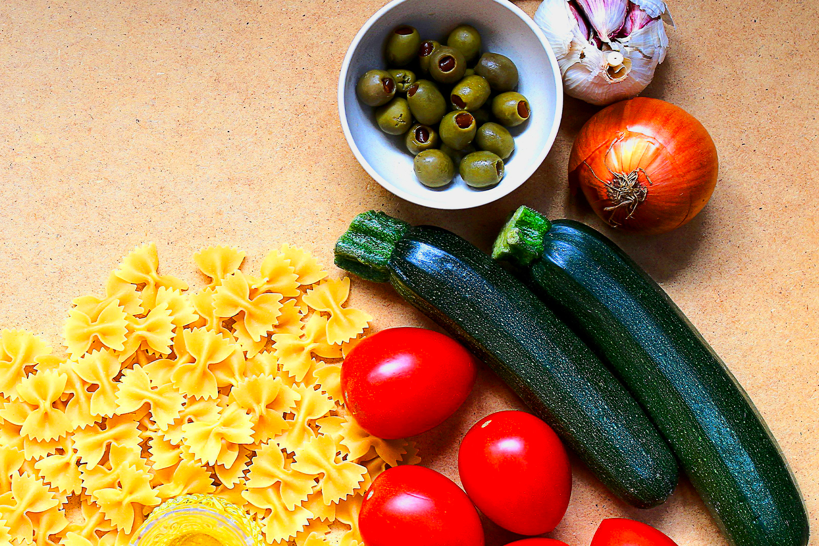 Olives, pasta, and other cooking ingredients