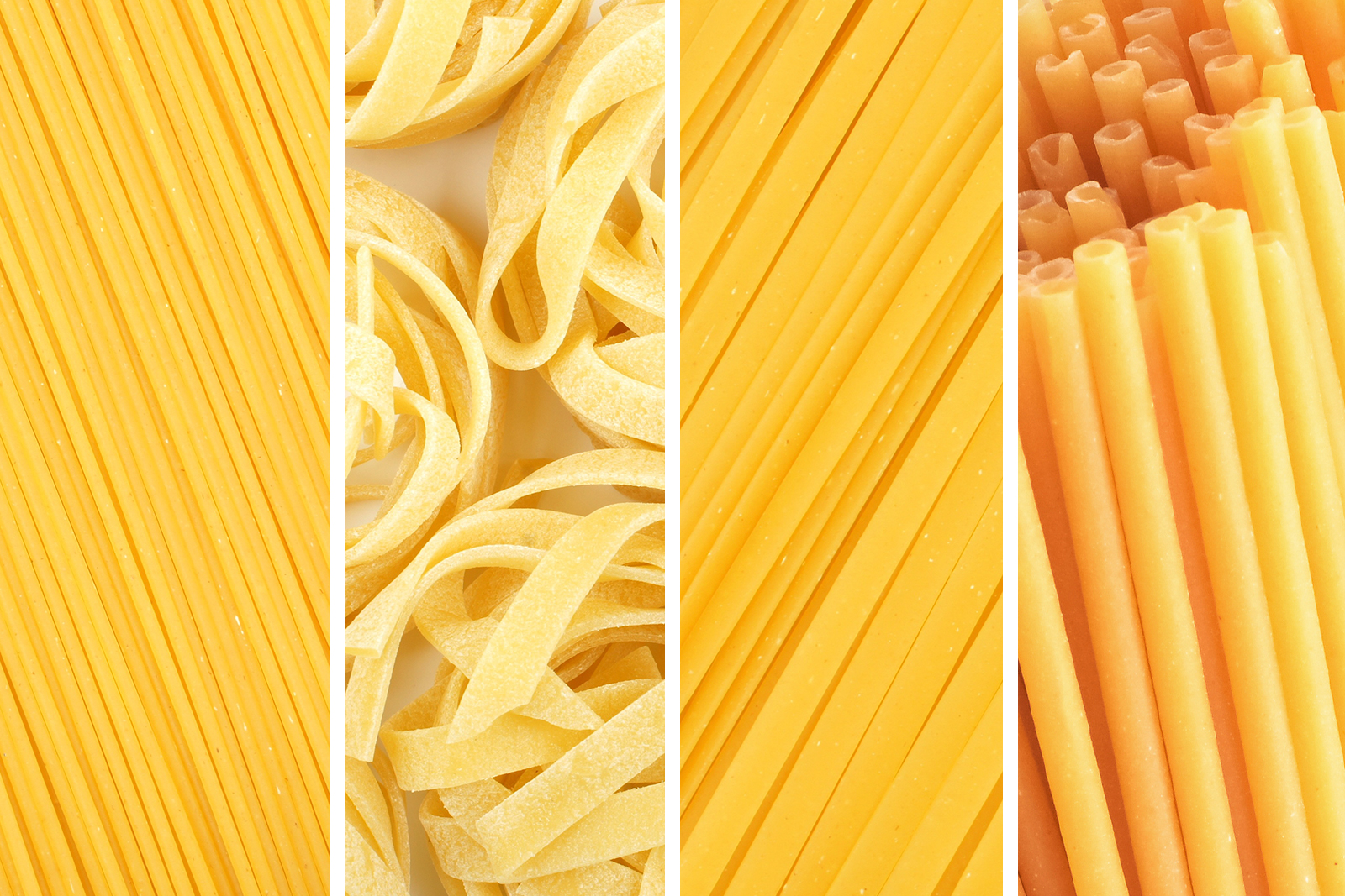Raw pasta - Linguine, Bucatini, Fettucine, Spaghetti