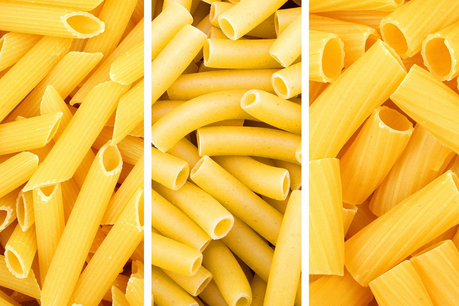 upclose shot of uncooked penne, ziti and rigatoni