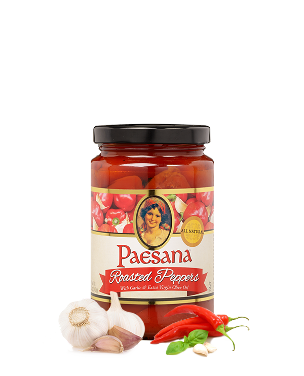 Paesana Fire Roasted Peppers with Garlic and Extra Virgin Olive Oil