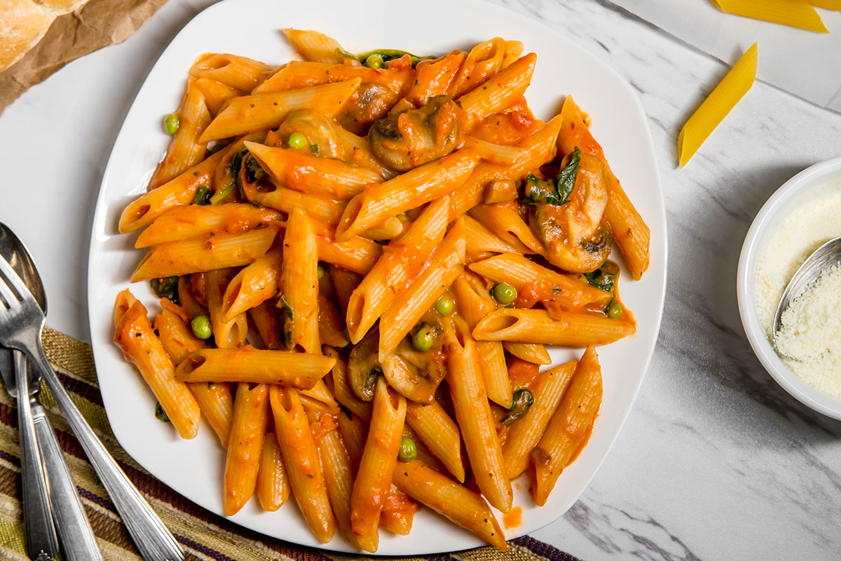Penne Vodka with Seared Chicken or Shrimp