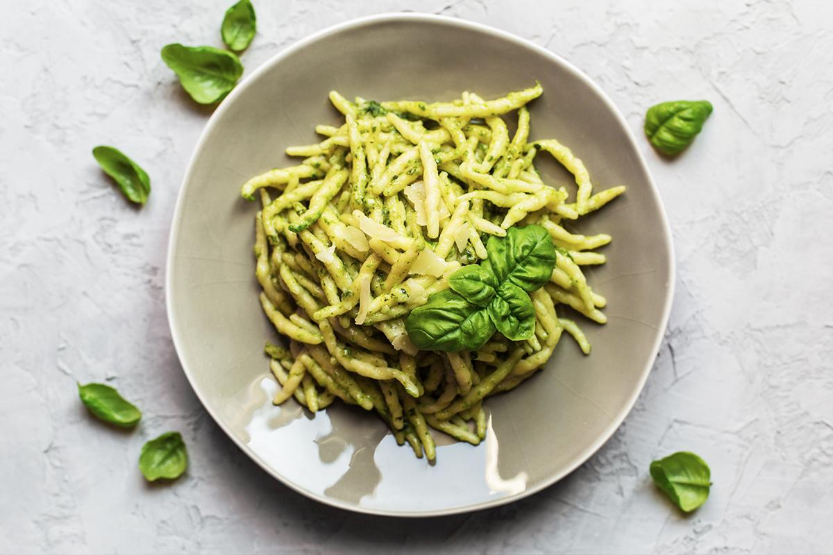 Pesto Sauce with Trofie Pasta - overhead shot