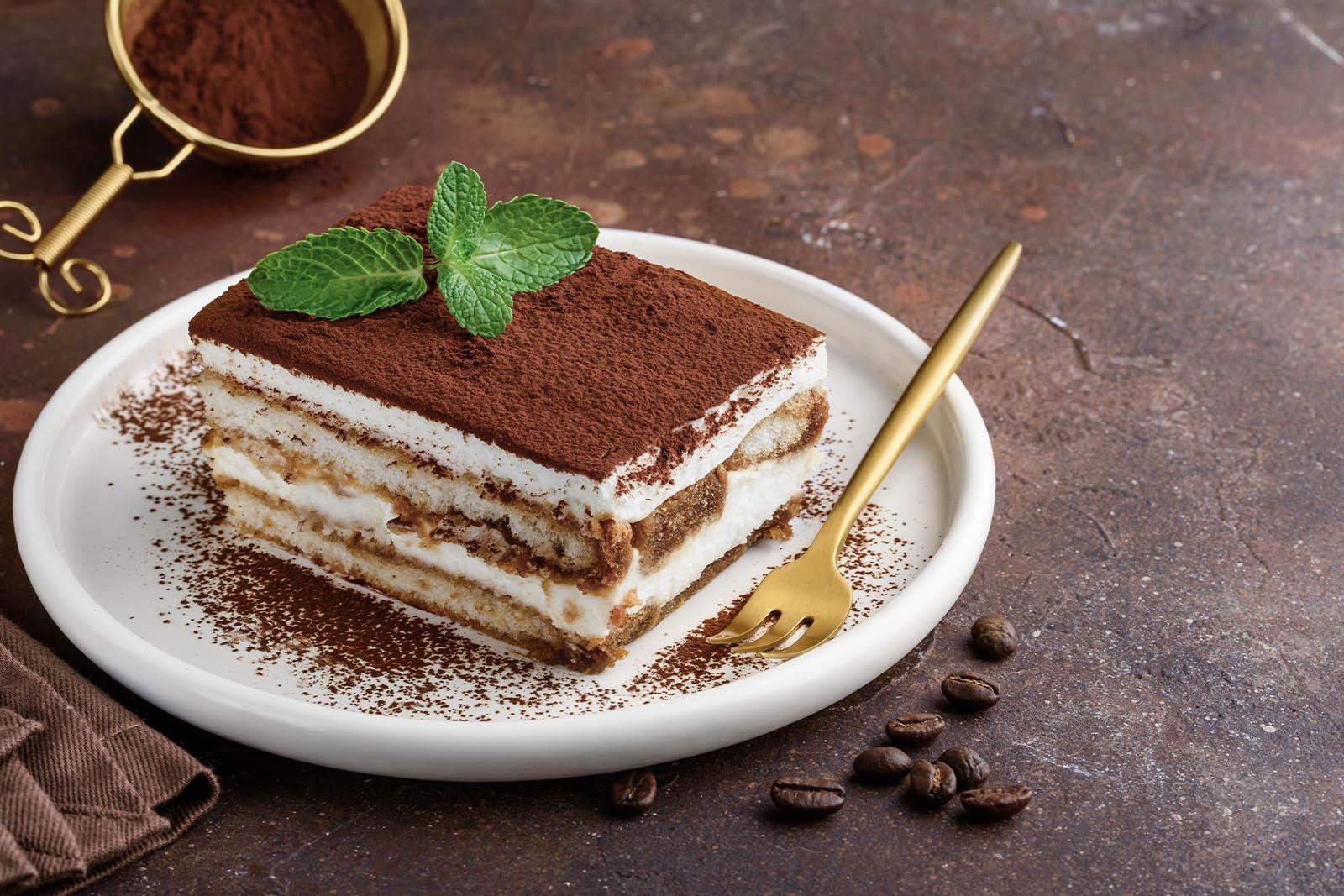 a piece of tiramisu cake
